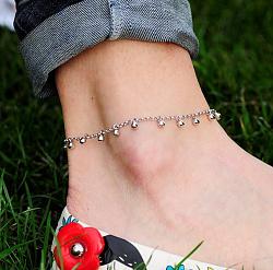 Золотой браслет на ногу Бубенцы